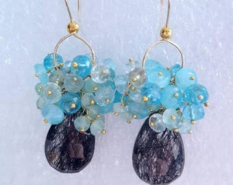 New! Tourmilated Crystal Quartz with Aqua Blue Moonstone Aqua Chalcedony And Aquamarine on Gold Fill Gift for Her