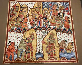 RARE Vintage Hand Painted Bali Cloth Balinese Indonesia Folk Art Mythology Textile