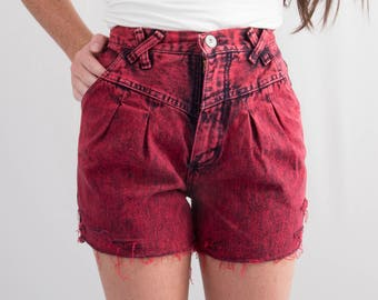 Vintage Wrangler Red Acid Wash Denim Cutoffs * Reworked Distressed Ripped Frayed 80s Shorts Hi Rise * Size 0 / Waist 22.5 * FREE SHIPPING