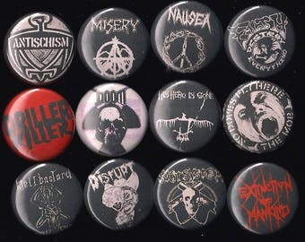 "Crust Punk Bands1"" Pins Buttons Badges x 12 Doom Nausea Filth Disrupt more"