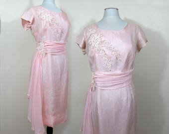 Pink Fancy Dress - Shimmery top layer, cluny lace, pearls & rhinestone trim - 1950s-60s - Lg