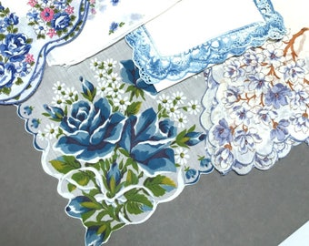 Lot of 5 Hankies Blue White Theme Roses Dogwood Cotton Linen Scalloped Edge Lace Excellent Condition