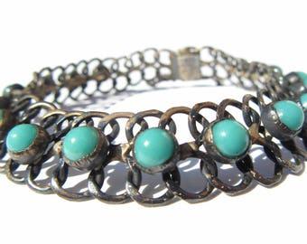 Turquoise Sterling Silver Bracelet Taxco 925 Eagle Mark 211 TNC Beaded Weave Bracelet, Vintage Jewelry