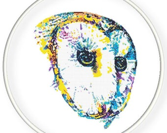 Instant Download,Free shipping,Counted Cross stitch pattern,Cross-Stitch PDF,watercolor bird,owl love you,zxxc0981