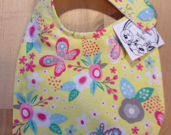Baby Bib- Yellow and Pink Flowers