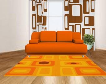 Orange Rug- Modern Rug- Modern Area Rug - Modern Carpet-  -Living Room Rug-  Retro Area Rug - Decorative Rug- Bedroom Rug - Kids RUG