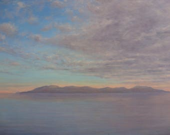 Isle of Arran from West Kilbride  subset... oil painting Scotland