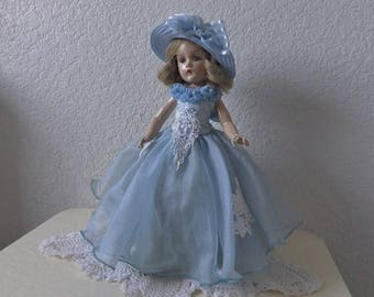 "Madame Alexander 14"" Composition Doll, Named Wendy.  1940s. In great condition and wearing beautiful blue gown and hat."