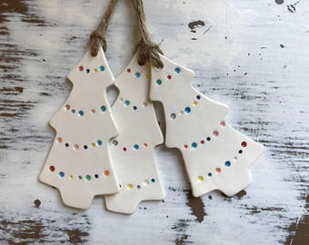 Christmas Tree Ornament / ceramic gift tag/wine bottle tag
