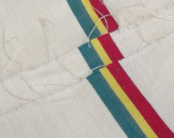 Vintage French Fabric Runner Woven Canvas Stripe Cloth Deck chair upholstery