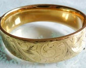 Vintage 1960s Gold Filled Hinged Wide Heavy Bangle Wedding Bridal Prom