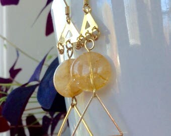 Edie sedgwick's Retro inspired triange Citrine dangle and drop shoulder duster earrings