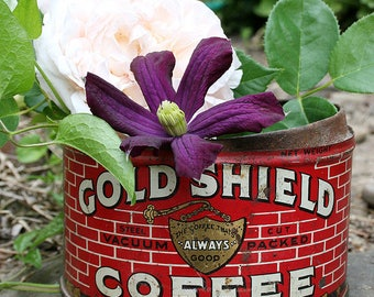 Gold Shield Coffee Tin Can Seattle Wa - Shabby, Vintage, Rustic Home Decor - Last Copyright Date 1928 Great Kitchen Restaurant Home Decor