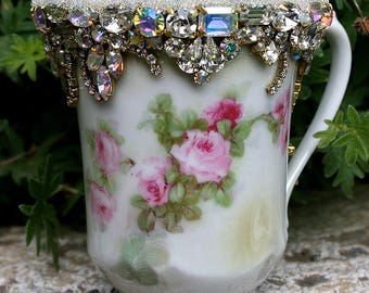 Jeweled Roses Cup Jewelry Vintage Germany Embellished Encrusted Altered Romantic Shabby Cottage Garden Home - Original Art Decor