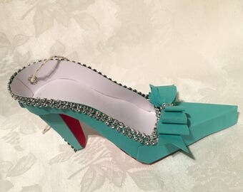 Small Turquoise with Red Heel High Heel Paper Shoe Ornament