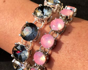 Silver and grey crystal statement bracelet pink opal crystal bracelet grey pink wedding silver bridesmaid jewelry bridesmaid gift stunning