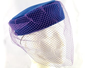 1980s Kangol blue velvet pillbox hat with purple full face veil | net formal hat vintage birdcage tilt winter steampunk