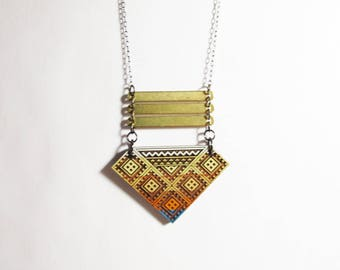 Morocco Stepped Diamond Necklace with Four Vertical Brass Bars, Sahara Desert Colors 1, Wood, Brass