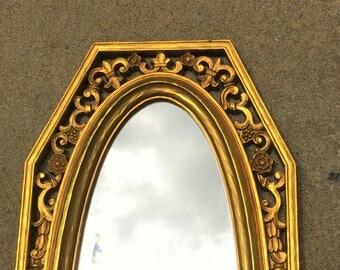 Vintage Mirror Octagon Oval 1965 Dart Homco Syroco Hollywood Regency Gold