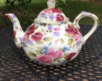 Vintage Chintz Floral Teapot Pink Red Roses A Special Place China