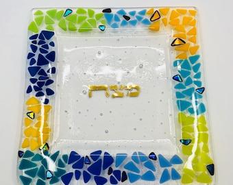 Matzah plate - Pesach tray - Matzoh tray - Passover plate - Dichroic fused glass - Judaica art - Jewish wedding - Gold - Hebrew writing
