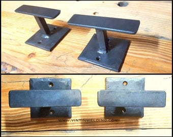 "REDUCED Price Blacksmith ONE PAIR of Hand Forged Iron Metal Modern Industrial ""T"" Robe Hooks by VinTin"