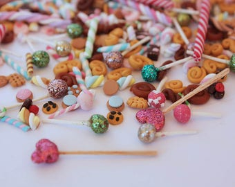 MINIATURE CANDY LOT 30 random pieces of cakepops, cookies, marshmallows, canes, sweets for cupcakes, deco den, dollhouse miniature