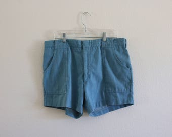 "Vintage Harris Casuals Chambray Shorts - Size XL - 37"" Waist - Made in USA"