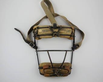 Vintage 1940's Spalding Brown Leather Baseball Catchers Mask