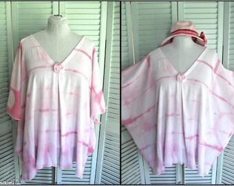 Caftan Beach Swimsuit CoverUp Boho Tunic Top Lounge Wear Shibori hand dyed cotton gauze Size Large