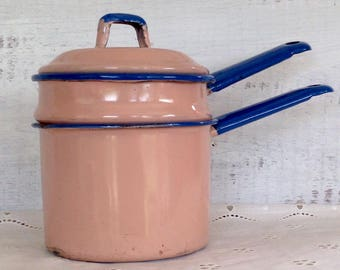Vintage Pink and Blue Enamel Small Double Boiler with Lid