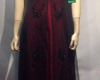 90's New With Tags MEDIEVAL Burgundy Hand BEADED Regal GOWN Med