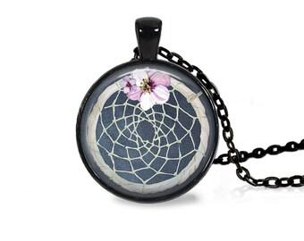 """25mm Dreamcatcher w/ Flower Blue Cabochon Black 18"""" Necklace"""