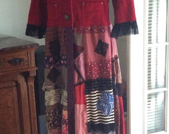Red Patchwork Coat, long floor length coat, red corduroy jacket, refashioned jacket coat upcycled patchwork duster LARGE