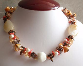 Coral Pearl Necklace Autumn Colors Ocean Theme Sterling Findings Vintage 101514MU