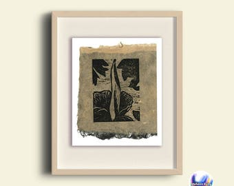2016 Corpse Flower hand-printed linocut on handmade paper, original print, blooming corpse flower