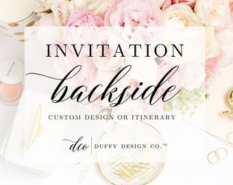 Matching Invitation Backside add-on to Any Design in Shop, Invitation Backer, Coordinating Invitation Backside, Printable Invitation Backer