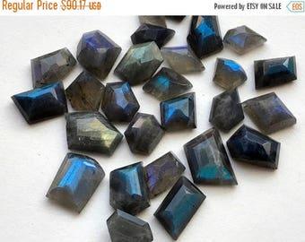 ON SALE 50% WHOLESALE 10 Pcs Labradorite Fancy Cut Cabochons, Blue Fire Rose Cut Flat Back Cabochons, Labradorite Jewelry, 15-20mm - Ns3314