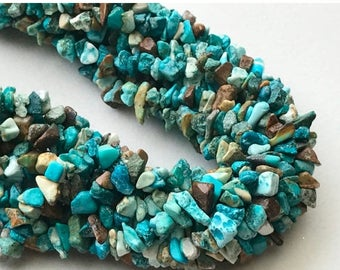 ON SALE 50% WHOLESALE 5 Strands Turquoise Chips Beads, Natural Turquoise Gemstone Chips, Chip Beads, Turquoise Necklace, 4-8mm, 32 Inch - Ra