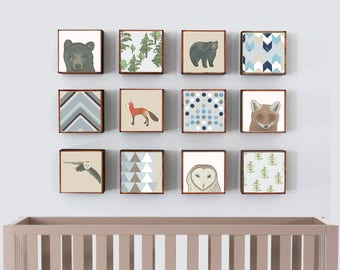 woodland nursery art- twelve set of 5x5 art blocks- kids room decor- forest nursery decor, southwestern prints, redtilestudio, art print