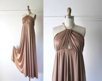 Seven Wonders / vintage 1970s dress / 70s halter dress