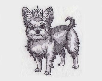 Yorkshire Terrier in Crown Tea Towel | Personalized Kitchen Towel | Dog Lover Gift | Embroidered Tea Towel | Embroidered Towel