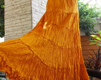 ARIEL ON EARTH - Boho Gypsy Long Tiered Ruffle Cotton Skirt - Orange Mustard