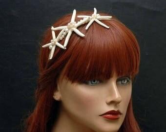Pearl and Starfish Headband Beach Wedding Hair Accessories, Bridal Headpiece, Mermaid Hair Piece, Rose Gold Headband, Shell Headband