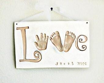 Imprint Handprint LOVE Plaque - Baby Keepsake Gift - Baby Keepsake - Newborn Keepsake Gift - Personalized Baby Gift - Baby Nursery Art