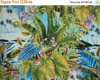 ON SALE REMNANT--Green and Blue Tropical Leaves Print Pure Cotton Fabric--1/2 Yard