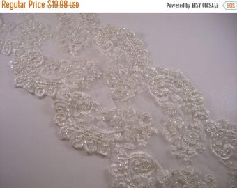 ON SALE Winter White Embroidered and Beaded Lace Trim--One Yard
