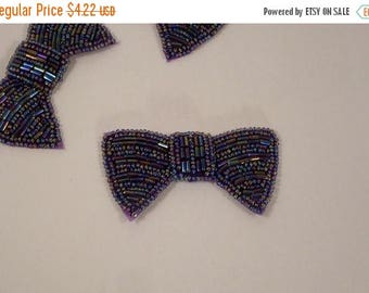 ON SALE Amethyst Beaded Bow Motif Applique--One Piece