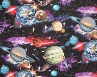 ON SALE Fabulous In Space Astronomy Print Pure Cotton Fabric--By the Yard