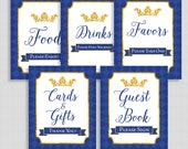 Royal Baby Shower Table Signs, Prince Royal Blue & Gold Shower Signs Package, 5 Sign Bundle, INSTANT PRINTABLE